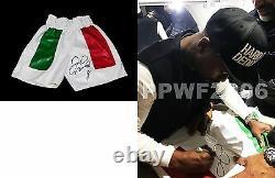 Floyd Mayweather Jr Main Signée Troncs De Boxe Autographiés Avec La Preuve Et Coa 2