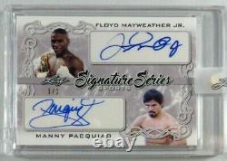 Floyd Mayweather Jr & Manny Pacquiao Signé Autographe 2020 Leaf Auto 1/1