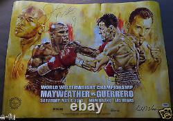 Floyd Mayweather Jr Robert Guerrero Signé 18x24 Affiche Psa / Dna Coa Autographe