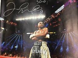 Floyd Mayweather Jr Signé 33x43 Canvas 50-0 Inscription Énorme Autographe Bas