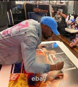 Floyd Mayweather Jr Signé 33x43 Toile Vs Manny Pacquiao Tbe Inscription Bas