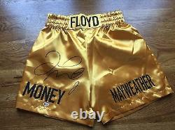 Floyd Mayweather Jr Signé Édition Limitée Le 12 Gold Trunks Beckett Coa Proof