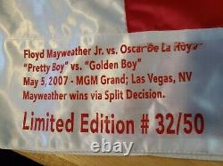Floyd Mayweather Jr Signé & Oscar De La Hoya Signé Coffres De Boxe Jsa Cert