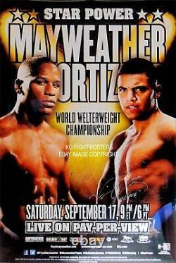 Floyd Mayweather Jr Vs Victor Ortiz Dual Signé Original Hbo Boxing Poster