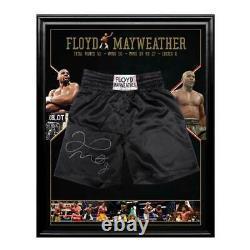 Floyd Mayweather Main Signé Encadré Trunks Boxe Ali Tyson Frazier Pacquiao