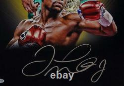 Floyd Mayweather Signé 16x20 Double Image Avec Belt Photo- Beckett Auth