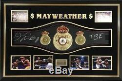 Floyd Mayweather Signé Ceinture Grandeur Boxe Encadré Autographe Tmt