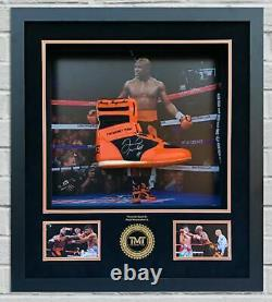 Floyd Mayweather Signé & Encadré Tmt Orange Boxing Boot Exact Proof Aftal Coa