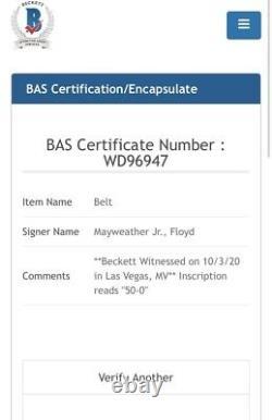 Floyd Mayweather Signé Wba Mini Belt Avec Inscription Beckett Témoin Coa