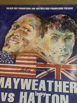 Floyd Mayweather Vs Ricky Hatton 2007 Affiche De Combat Neiman Très Peu Impriméerare