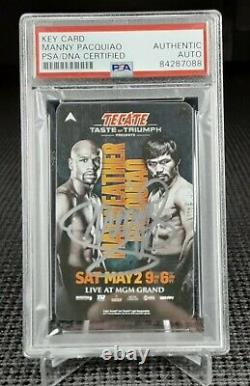 Manny Pacquiao Psa/dna Certified Auto Signed Key Card! Vs Floyd Mayweather