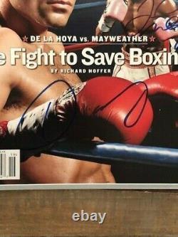 Oscar De La Hoya Floyd Mayweather Sports Illustré Autographe Signé Bas Loa
