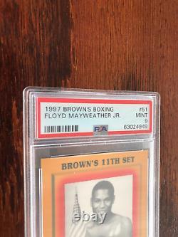 Rare 1997 Brown's Floyd Mayweather Jr. Rookie #51 Carte De Boxe Psa 9