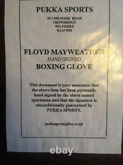 Signed Floyd Mayweather Jr. Gant De Boxe Rare Vip D'or Avec Preuve De Photo